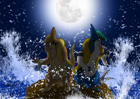 JA and Hocus at Night's Sea by Threehorn
