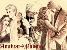 Anakin and Padme my drawings 2 by acrosstars22