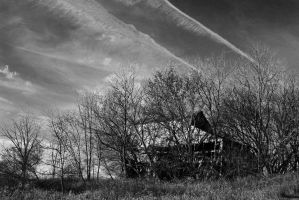 Hidden Barn with Contrails by Adeimantus