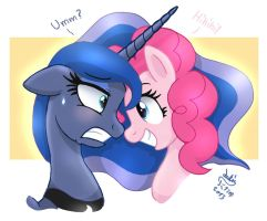 MLP FIM - Princess Luna And Attention Pinkie Pie by Joakaha
