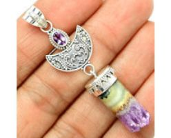 Pure 925 Sterling Silver Amethyst Cylinder Pendant by yanxgroup