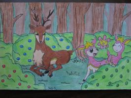 Sawsbuck and her Deerling (Plus a Cherrim) by BlazingSoul96