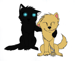 Shadow and Rorrim as puppies by squalled-101