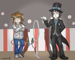 Circus Sebastian and the Lioness by theamazingwrabbit