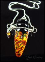Fire Chant -  Glass Lampwork Bottle Pendant by andromeda