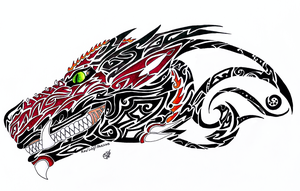 Dragonhead - Tattoo Design by RedWolfAkasora