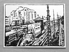 Industrial Trainyard Artist Trading Card Original by OneUrbanTribe