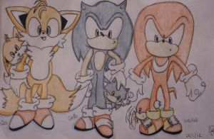 Tails, sonic and knuckles by Redpadna