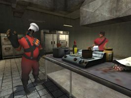 TF2 - Breakfast at Red Base by SparkyMalone