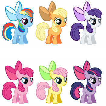 Apple Bloom Collage: Mane Six by SpriteFizz