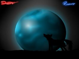 Wolf in the moon by LordDivinity