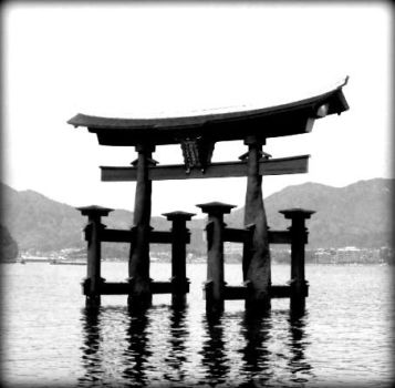 Torii Gate B and W by whatsuphannah