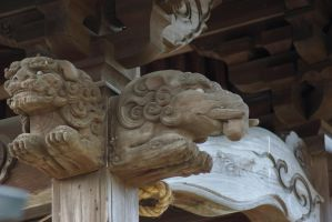 Temple Details: 04 - Carved Lion and Elephant by taeliac-stock