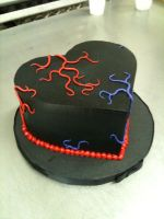 Black Buttercream Heart Cake by Spudnuts