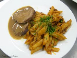 Penne with Roast Beef by FreakShowHouse