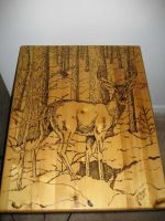 Wood burned deer end table by eveningdawn