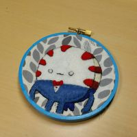 Peppermint Butler Embroidery Hoop by monstersbyechidna