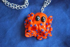 orange octopus necklace by LoopyLouLouDesigns
