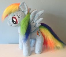 Faux Fur Rainbow Dash Plushie by PlushieScraleos