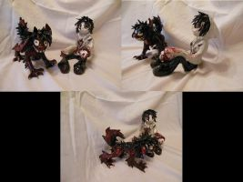 Jeff The Killer And Smiledog Sculptures by psycholiger13