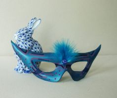 Metallic blue bejeweled mask by nondecaf