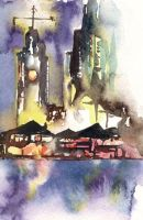 Watercolor: Aloha Tower by muttiy