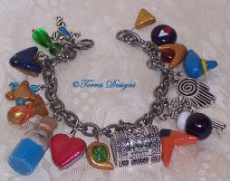 1st Ocarina of Time Charm Bracelet Zelda OOAK by TorresDesigns