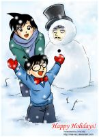 Snow man and Conan by mia-reiz