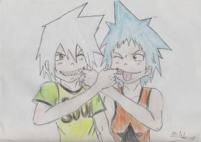 Soul Eater and Black Star by souleaterxblackstar