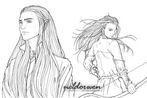 WIP - Thranduil and Legolas by Neldorwen