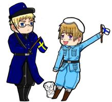 Chibi Finland and Sweden by HetaliaAmore