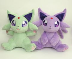 Sitting Espeon Plushies by Yukamina-Plushies
