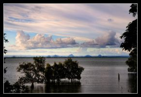 Sea View -Glasshouse Mountains by 2Stupid2Duck