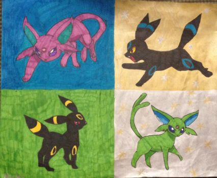 Espeon and umbreon pop art by ThisCatIsOnFire