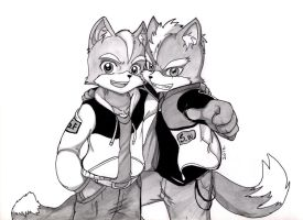 Fox McCloud y Wolf O'Donnell by WolfMoon17