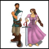 Aldaim and Braysen in Tangled by Rennali