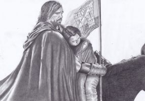 Sandor Clegane and Arya Stark by paletan