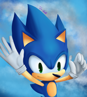 Sonic is falling by Tri-shield