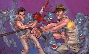 Ash and Indy vs The Zombies by DaveJorel