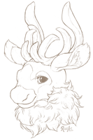 Bust Sketch - Clockwork-Caribou by RoughReaill