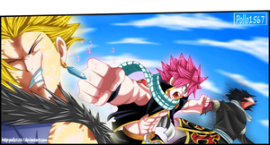 natsu vs sting and rogue by pollo1567