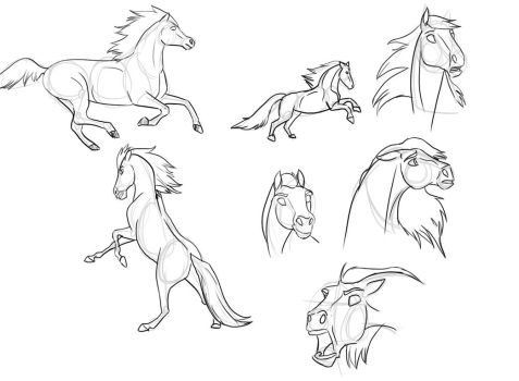Horse sketches by Bluewolfu