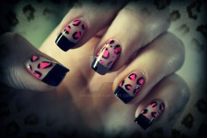 Pink Leopard and Black tips by ViiviASD