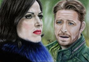 Regina and Robin - OutlawQueen by tanjadrawing