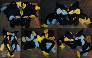 Laying Shiny Luxray and Luxray by YutakaYumi