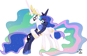 Celestia and Luna Hugging (Celestia Major Ver.) by 90Sigma