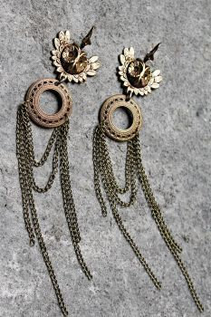 Owls chains earrings by Pinkabsinthe