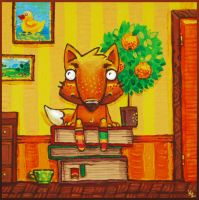 Orangefox with books by Beffana