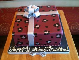 Leopard Print Present Cake in Maroon and Silver by Spudnuts