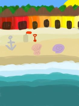 Forested Beach (iPad Sketch) by SurfingTheSeaWorld